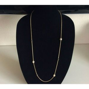 Banana Republic Gold Long Necklace Pave Station